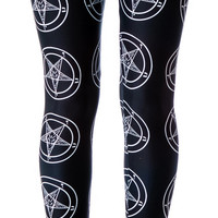 Tentacle Threads Baphomet Pentagram Leggings Black/White