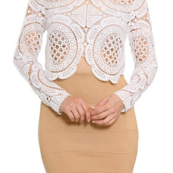 Lorde Long Sleeve Lace Crop Top - White