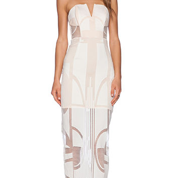 Shona Joy Seidler Bustier Midi Dress in Ivory