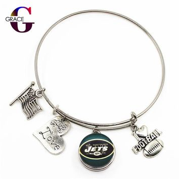 New York Jets Sports Charms Adjustable I Love Football Expandable Women Men Bangle Bracelets With Ginger Snaps Buttons Jewelry