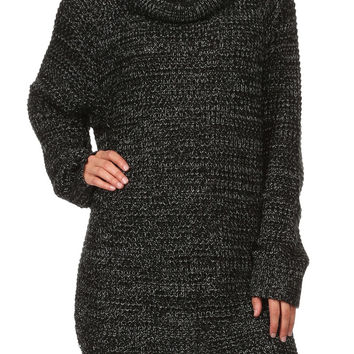 LOIS Chunky Cowl Neck Tunic Sweater