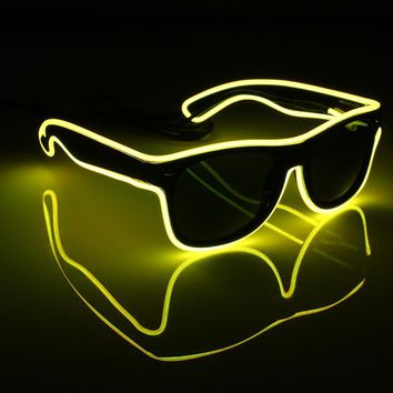 LED EL Wire Glasses Light Up Glow Sunglasses - Free Shipping