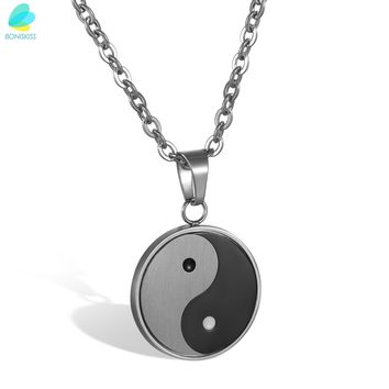 BONISKISS Chinese Yin Yang Pendant Necklace Stainless Steel Necklaces Bagua Pendant Men Jewelry With Chain