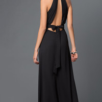 Long Black Open Back Dress with Bow