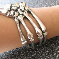 New Hot Rare Antique Silver Goth Steam Punk Emo Skeleton Bone Bangle Bracelet