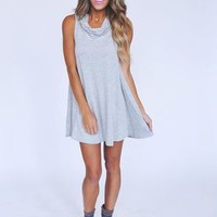Cowl neck Shift Dress- Grey