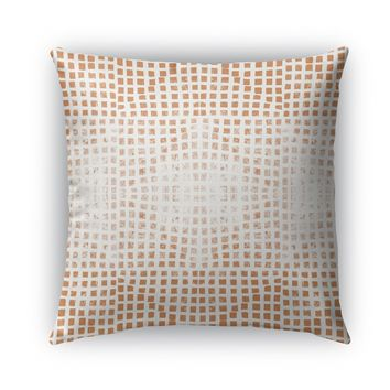 GODS EYE BLOCK PRINT ORANGE  Indoor|Outdoor Pillow By Becky Bailey