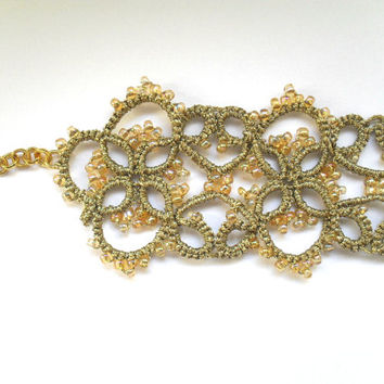 Gold lace bracelet, tatted bracelet, beaded bracelet, tatting jewelry, bridal jewelry, bridal bracelet, wedding jewelry, wedding lace