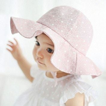 PEAP78W Lovely Kids Pink Sun Hat Summer Cotton Bucket Hats Toddler Children Girls Brim Beach Hat With Wide Brim