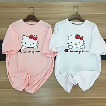 Champion X Hello Kitty Trending Women Cute Loose Summer Short Sleeve T-Shirt Pullover Top I-YF-MLBKS