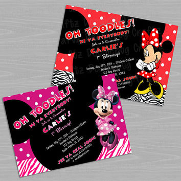 Disney Minnie Mouse Custom Printable Birthday Party Invitations - Personalized with 24hr turn-around. Choose Red or Pink & White with Zebra