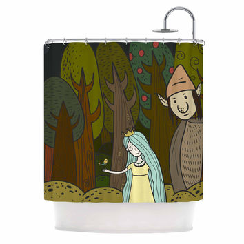 "Petit Griffin ""Enchanted Forest"" Green Blue Shower Curtain"