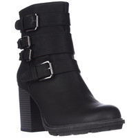 7 Dials Scooter Strapped Ankle Booties - Black