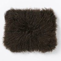 "Mongolian Lamb Pillow Cover - Sable (12""x16"")"