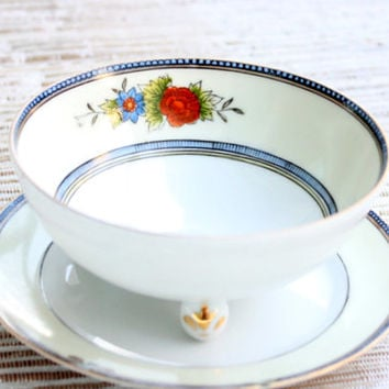 Noritake Hand Painted Footed Bowl And Matching Plate/ Handpainted Made in Japan / Salad Dressing / Vintage China