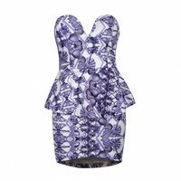 CHINA BLUE SEASHELL WRAP PEPLUM DRESS