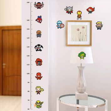 funny doll Iron Man AVENGERS Captain Spiderman cartoon movie hero home decal kids room height measure growth chart wall stickers