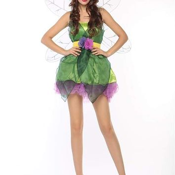 MOONIGHT Women Sexy Green Elf Cosplay Costumes Vintage Cosplay Dress With Wings Halloween Costume for Women Macchar Cosplay Catalogue