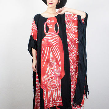 Vintage Fringe Caftan Black White  Red Tribal Print Hippie Kaftan 90s Boho Hippie Dress Batik Festival Sundress M Medium L Extra Large XL