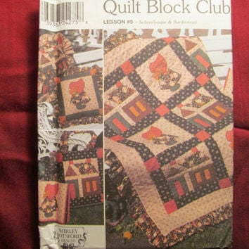SALE Uncut Simplicity Sewing Pattern, 9371! Quilt Block Club, Lesson #5/Quilted Blankets/Pillows with Ruffled Edges/Totes/Sham/Sunbonnet Sue
