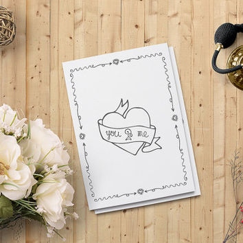 "Valentine's Day Card, You and Me Card, Love Card, Heart Printable Card 5""x7"" Instant Download - Heart Digital Print - on SALE 50%"