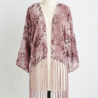 Boho Long I'm Awe Yours Jacket in Dusty Rose