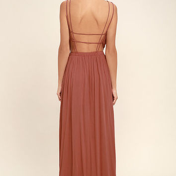 Lost in Paradise Rusty Rose Maxi Dress