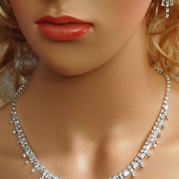 """Bridal Wedding Prom Pageant Crystal Necklace and Earring Set, 18"""" with Adjustable Chain N1X97"""