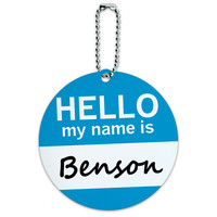 Benson Hello My Name Is Round ID Card Luggage Tag