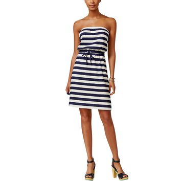 Tommy Hilfiger Womens Striped Strapless Casual Dress