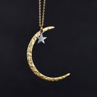 gold  plated matte crescent moon necklace ---N034