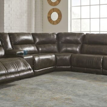 Ashley Furniture 22700-58-57-19-77-46-62 6 pc dax ii collection antique colored durablend leather upholstered power motion sectional sofa with nail head trim