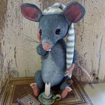 Wee William Mouse: vintage style, soft sculpture, hand painted, fabric art doll animal, artist bear (mice, rat).