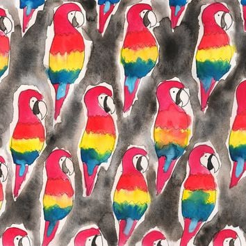 Parrots Watercolor Painting