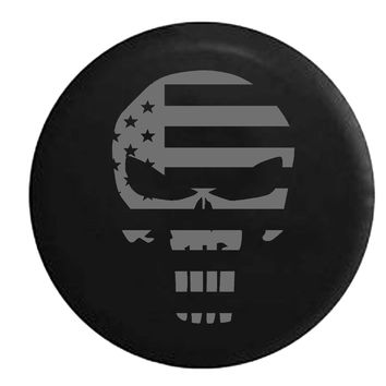 Punisher United States Flag Spike Skull Military Police , Jeep, RV, Camper, Spare, Tire, Cover