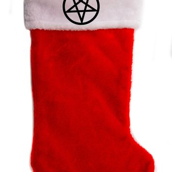 "Inverted Pentagram Christmas Holiday Stocking 17"" Red/White Plush Hanging Sock Santa Stuffer Merry Gothmas"