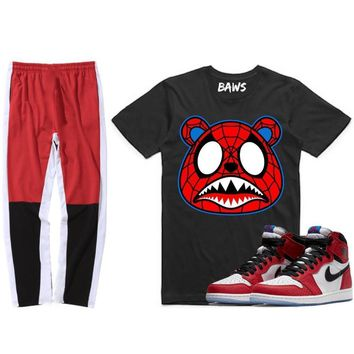 Jordan 1s Spider Man Sneaker Outfit - SPIDER BAWS - Shirt & Track Pants