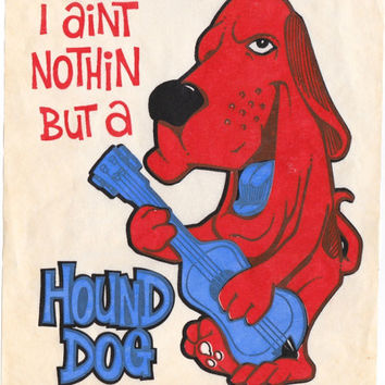 """Tee Time - 5 Vintage 70s Iron-On T-Shirt Transfers """"I Ain't Nothin But a Hound Dog"""" """"Cool Cat"""" """"Don't Follow Me - I'm Lost"""" Etc."""