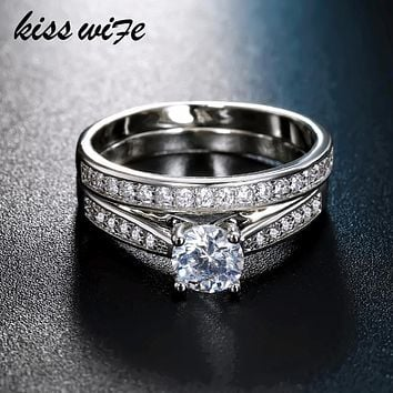 KISSWIFE 2pcs/lot Silver Double Rings Set Engagement Woman Cubic Zirconia Ring For Women Female Ladies Lover Party Wedding Jewe