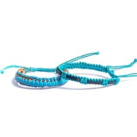 Leather and Cotton Woven Bracelet - Blue