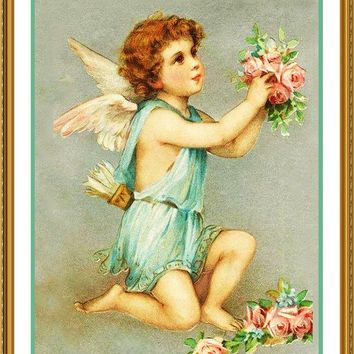 Victorian Valentine Cupid with Roses Counted Cross Stitch or Counted Needlepoint Pattern
