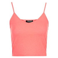Ribbed Cropped Cami - Fluro Pink