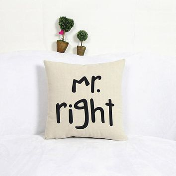 Home Decor Cotton Linen Mr Pillow Case Sofa Waist Throw Cushion Cover