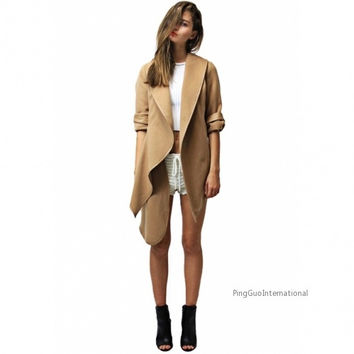 Stylish Lady Women Casual Long Sleeve Cape Irregular Asymmetric Coat Outwear Overcoat Trench Warm Parka = 1838488260