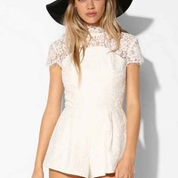 Keepsake Lace Mock-Neck Romper- Ivory