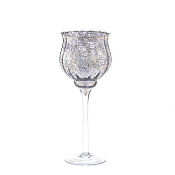 Medium Silver Glass Candle Holder