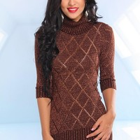 Bronze Metallic Knit Sweater Dress with Half Length Sleeves