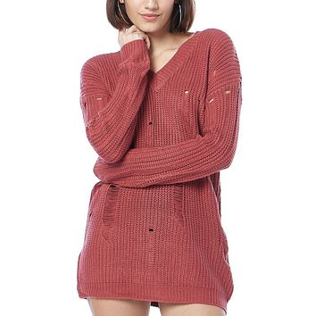 Distressed V-Neck Knit Sweater