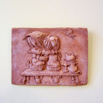 Vintage Clay Tile Wall Hanging by M.P. Makras 1972 Seated FRIENDS