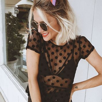 Sheer Mesh Polka Dot Top